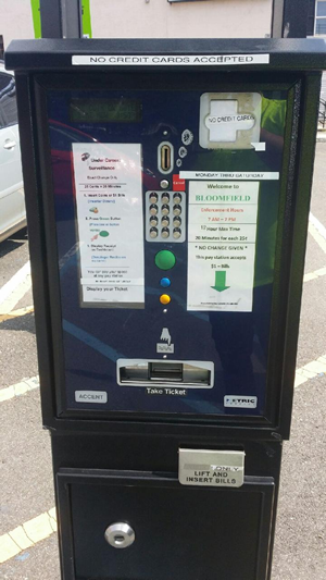 Metric Parking Machine-Bloomfield Ave. Lot and Conger St. Lot